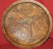 Antique Engraved Hand Painted Wood Bowl