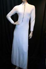 S  Vtg 70s St John Knits Winter White Sweater  Maxi Dress Rhinestone Buttons