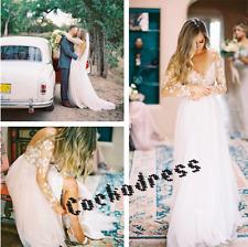 Boho White/Ivory Lace Tulle Beach Wedding Dress Long Sleeve V Neck Bridal Gown
