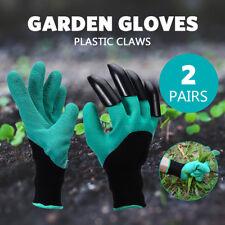 2 Pairs Garden Gloves 4 Plastic Claws Genie Digging Gardening Polyester Gloves