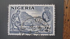 Nigeria 1953-58 QE2 2d slate blue extra figure in boat variation SG 72db f/used
