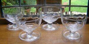 BEAUTIFUL SET 4 VINTAGE CRYSTAL GLASS SUNDAE DISHES SAUCER BASE 9.3CM X 10CM.