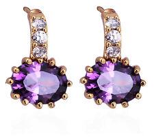 Luxury Amethyst Purple Zircon stone Ladies Earrings Women Studs Jewellery E740