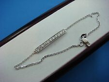 14K WHITE GOLD 0.50 CARAT T.W. DIAMOND BAR BRACELET, 7 INCH LONG, SAFETY LOCK