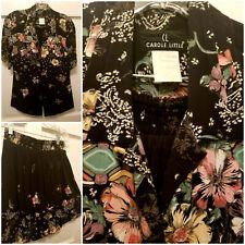Vintage Carole Little 2Pc Flower Skirt Blouse Black + Pink Women Sz 14