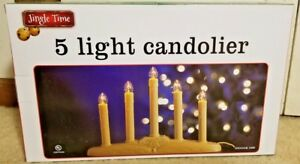 "Plastic Window Candle 5 Light Candolier Electric 10"" Tall, 14.25"" long"