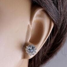 NEW Women Flower Ear Stud Earring Natural Aquamarine Earring Trinket Gifts C