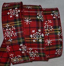 "Wired Ribbon~Christmas Red Tartan Plaid~White Snowflake~1.5""~Holiday~Wreath~Bow"