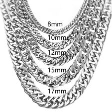 Curb Cuban Chain For Men 6/8/10/12/15/17/19mm Stainless Steel Silver Necklaces