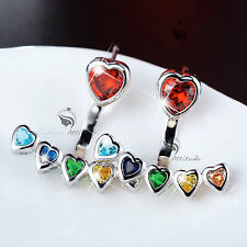 18k white gold filled rainbow multicolour crystal earrings ear jacket 925 silver