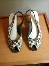 Life Stride multi - color slingback 3 in. heels, 8.5 M, Fabric uppers, polka dot