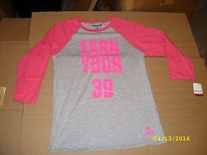 "REEBOK Women's Breast Cancer Ribbon Long Sleeve T-Shirt ""Earn Your Avon 39"" NEW"
