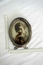 Vintage sterling silver oval footed picture frame w/vintage picture