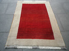Old Traditional Tribal Hand Made Persian Oriental Gabbeh Red Wool Rug 155x110cm