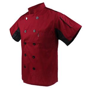 Men Chef Coat Short Sleeve Top  Restaurant Cook Waiter Uniform