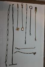 Watch Fob Chains w/ (1) Sterling Vintage Lot Of (7) Six Pocket