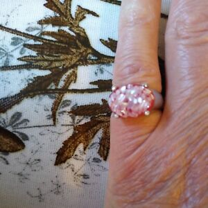 Art Decco Scarlet  faux glitter agate  Silver Tone Ring, Size J New with tags