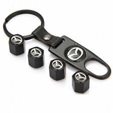 4X Black Car Wheel Tire Valve Stem Caps Air Caps Dust Cover+Key Chain For Mazda