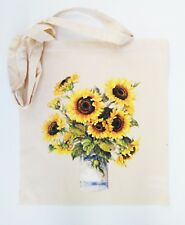 S06 Sunflowers in milk jug cotton shopping shoulder beach tote bag eco friendly