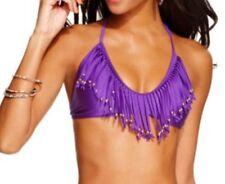 Raisins Bikini Top Sz M Solid Purple Fringe Bra Halter Swimwear Swim Top