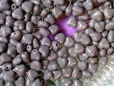VTG 150 PUFFY GRAY HEARTS JEWELRY GLASS BEADS 7mm SWEET #050212c