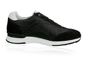 SNEAKERS Herren Voll LEDER Schuhe  SCHUHE KÖLN  Schwarz Made in ITALY
