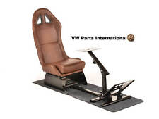 Gaming Racing Simulator Frame Chair Bucket Seat Stand PC PS3 Brown Faux Leather