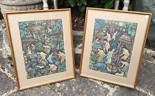 Framed Pair Of Vintage Balinese Folk Art Paintings Signed DW MD Suarna