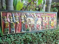 Balinese Wall Panel - Large (red tones) Balinese Ceremony