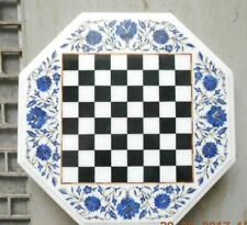 """18"""" white marble chess table top center coffee inlay stone lapis octagon"""