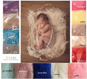 *So Soft Mohair Wrap & Headband Tieback 2 Piece SET newborn baby knit photo prop