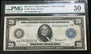 1914 $20 FRN Fr#990 ♚ CHICAGO ♚   PMG VF-30, Burke~Houston, w/ TRAIN & STEAMSHIP
