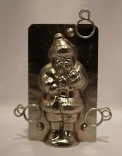 "Vintage 4.5"" Metal Santa Chocolate Mold w/ Clips"