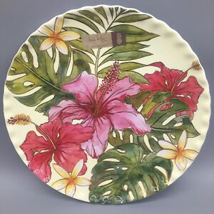 4 Nicole Miller Hibiscus MELAMINE Dinner Plate Set Tropical Palm Plumeria Hawaii