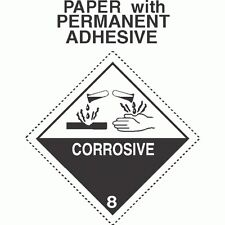 Corrosive Class 8 Paper Labels - Dashed Outer Border D.O.T. 4X4 (ROLL OF 500)