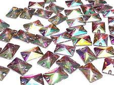CraftbuddyUS 50pc AB Clear 18X13mm Rectangle Resin Sew On Diamante Crystal Gems