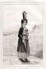 CAPRI: COSTUME DI DONNA. Regno delle Due Sicilie. ACCIAIO. Stampa Antica. 1838