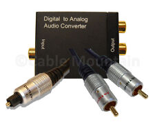 Gold Plated Digital TOS to Analogue RCA Phono Audio Converter Kit + Cables D2A