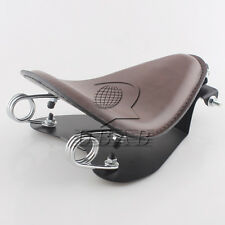 "Retro Brown Leather SOLO Seat Pan Cover Frame 2"" Spring For Harley Bobber Custom"