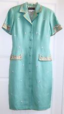 Donna Morgan Green Embroidered Button Front Dress size 6