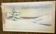 Vintage Paper Golden Christmas Greeting Card Tree Cabin Ribbon