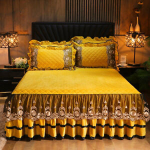 Embroidered Lace Velvet Bedspread King Full Quilted Soft Double Bed Skirt Sheet