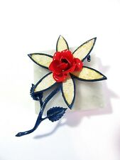 RED WHITE AND BLUE WEAVE TEXTURE ENAMEL FLOWER PIN VINTAGE ENAMEL ROSE