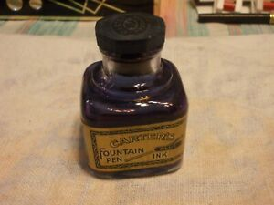 VINTAGE EMPTY ADVERTISING CARTER'S FOUNTAIN BLUE PEN INK #567 GLASS INK WELL BOT