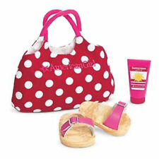American Girl Swim Tote and Gear with Red Dot Tote, Sunscreen, Sandals BNIB !!!!