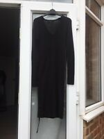 All Saints Black 100% Wool V Neck Jumper Dress Size Medium Fitted Dress B34