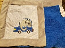 Babies R Us Baby Blanket Gray Cars Blue Sherpa Elephant in Car Plaid Ear