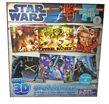 Star Wars Super 3D, 6 Puzzle Pack.  696 Total Pieces. Ages 3+ Used