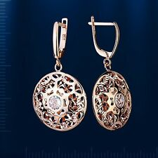 Russian Rose gold 14k/ 585 dangle earrings with CZ. NWT stunning. 5.0 g