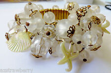 VTG  Mid Century Stretch Expansion Cluster Frosted Beads Sea shell Star Bracelet